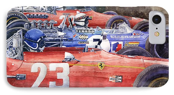 1968 Belgie Gp Spa Ickx Amon Ferrari 312 Stewart Matra Cosworth M15 IPhone Case by Yuriy Shevchuk