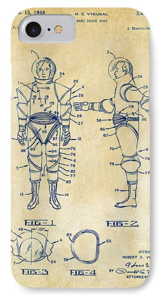 1968 Hard Space Suit Patent Artwork - Vintage IPhone 7 Case by Nikki Marie Smith