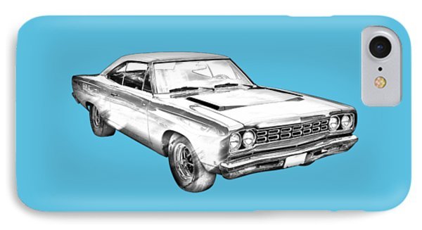 1968 Plymouth Roadrunner Muscle Car Illustration IPhone Case by Keith Webber Jr