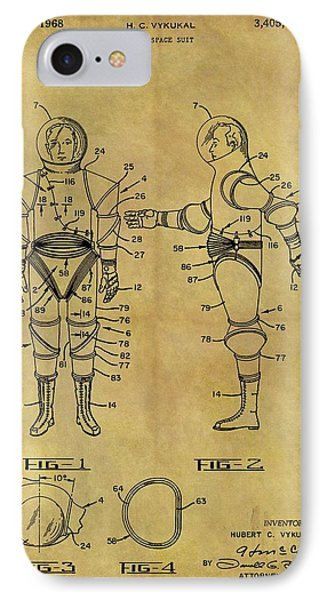 1968 Space Suit Patent IPhone Case by Dan Sproul