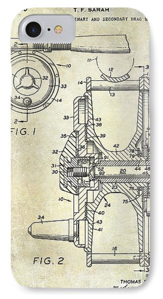 1969 Fly Reel Patent IPhone Case by Jon Neidert