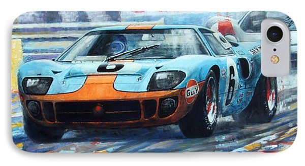 1969 Le Mans 24 Ford Gt 40 Ickx Oliver Winner  IPhone Case by Yuriy Shevchuk