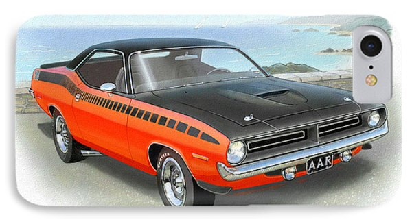 1970 Barracuda Aar  Cuda Classic Muscle Car IPhone 7 Case by John Samsen