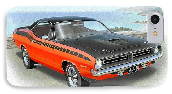 1970 Barracuda Aar  Cuda Classic Muscle Car IPhone Case by John Samsen