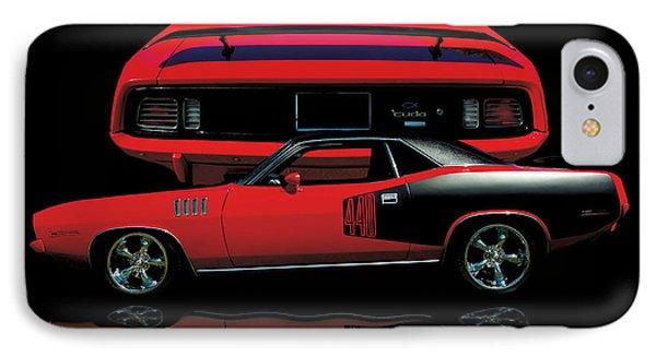 1971 Plymouth Cuda 440 Six Pack    IPhone Case by Peter Piatt