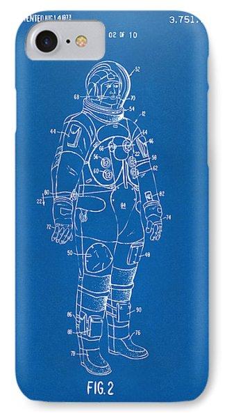 1973 Astronaut Space Suit Patent Artwork - Blueprint IPhone 7 Case