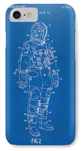 1973 Astronaut Space Suit Patent Artwork - Blueprint IPhone Case by Nikki Marie Smith