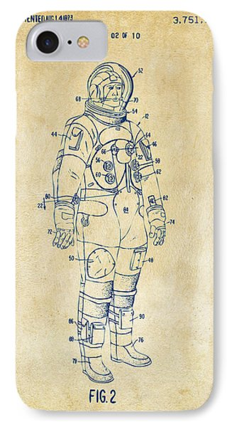 1973 Astronaut Space Suit Patent Artwork - Vintage IPhone 7 Case by Nikki Marie Smith