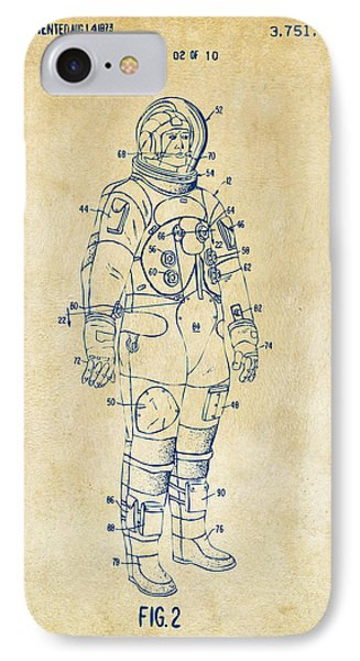 1973 Astronaut Space Suit Patent Artwork - Vintage IPhone Case by Nikki Marie Smith