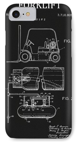 1973 Forklift Patent IPhone Case by Dan Sproul
