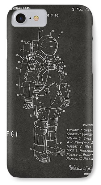 1973 Space Suit Patent Inventors Artwork - Gray IPhone Case by Nikki Marie Smith