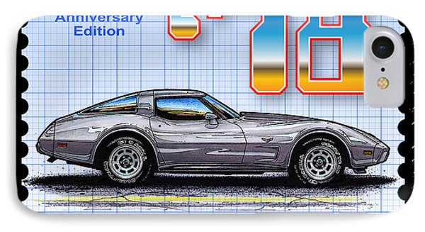 IPhone Case featuring the drawing 1978 Silver Anniversary Edition Corvette by K Scott Teeters