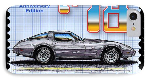 1978 Silver Anniversary Edition Corvette IPhone Case by K Scott Teeters