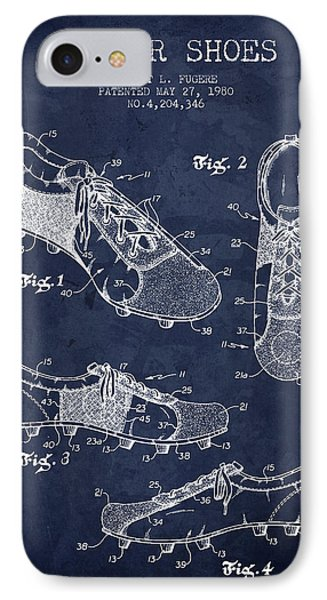 1980 Soccer Shoe Patent - Navy Blue - Nb IPhone Case