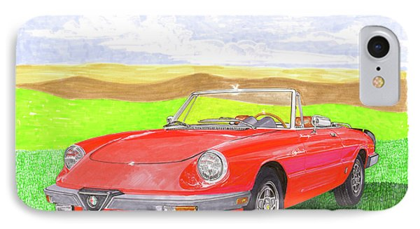 IPhone Case featuring the painting 1983 Alfa Romero Spider Veloce by Jack Pumphrey