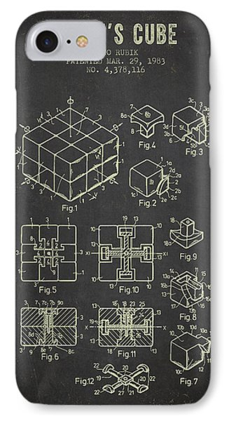 1983 Rubiks Cube Patent - Dark Grunge IPhone Case by Aged Pixel
