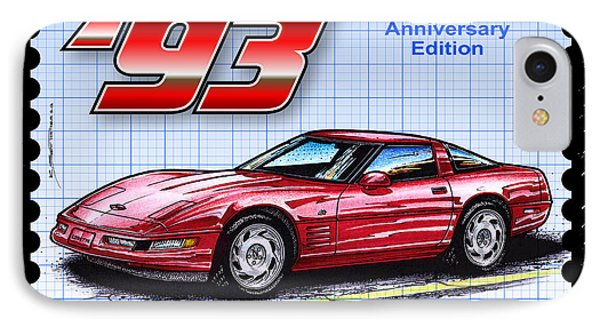 IPhone Case featuring the drawing 1993 40th Anniversary Edition Corvette by K Scott Teeters
