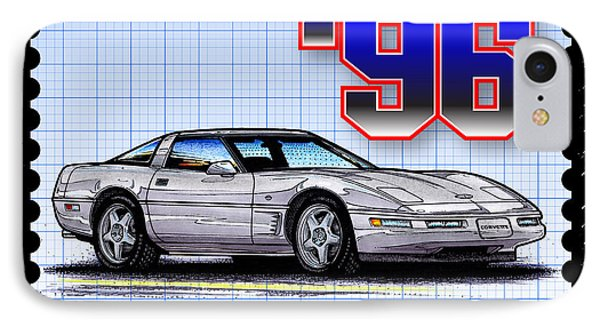 IPhone Case featuring the drawing 1996 Collector Edition Corvette by K Scott Teeters