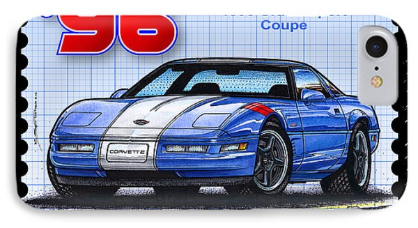 IPhone Case featuring the drawing 1996 Grand Sport Corvette by K Scott Teeters