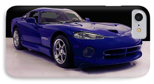 IPhone Case featuring the digital art 1997 Dodge Viper Gts Blue by Chris Flees