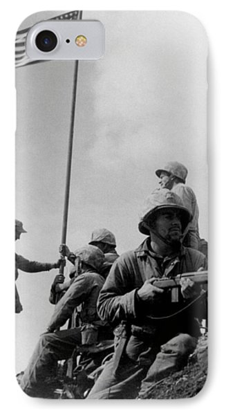 1st Flag Raising On Iwo Jima  IPhone Case by War Is Hell Store