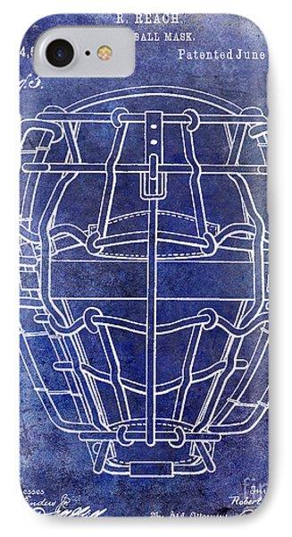 1887 Baseball Mask Patent Blue IPhone Case by Jon Neidert