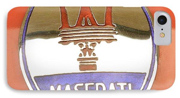 1957 Fangio Maserati 250f Hood Badge IPhone Case by John Colley