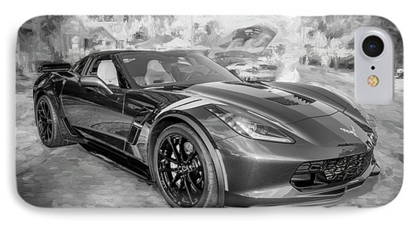 IPhone Case featuring the photograph 2017 Chevrolet Corvette Gran Sport Bw by Rich Franco