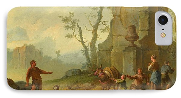 A Classical Landscape With A Family Resting IPhone Case by MotionAge Designs
