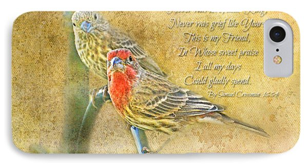 A Pair Of Housefinches With Verse Part 2 - Digital Paint IPhone Case by Debbie Portwood