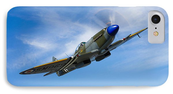 A Supermarine Spitfire Mk-18 In Flight Phone Case by Scott Germain