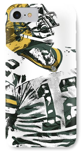 Aaron Rodgers Green Bay Packers Pixel Art 4 IPhone Case by Joe Hamilton