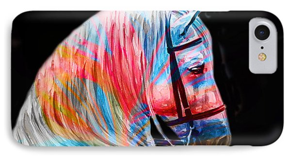IPhone Case featuring the painting Abstract White Horse 19 by J- J- Espinoza