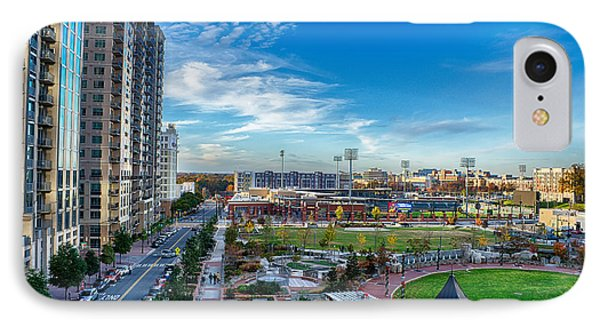 Aerial View Of Romare Bearden Park In Downtown Charlotte North C IPhone Case by Alex Grichenko