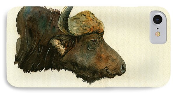 African Buffalo Watercolor Painting IPhone Case by Juan  Bosco