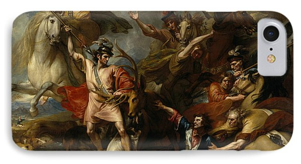Alexander IIi Of Scotland Rescued From The Fury Of A Stag By The Intrepidity Of Colin Fitzgerald  IPhone Case by Benjamin West