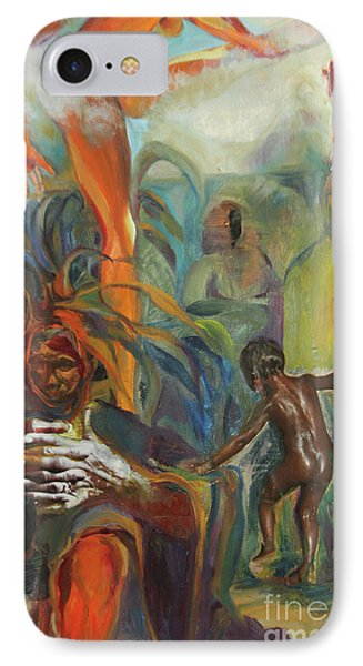 IPhone Case featuring the mixed media Ancestor Dance by Daun Soden-Greene