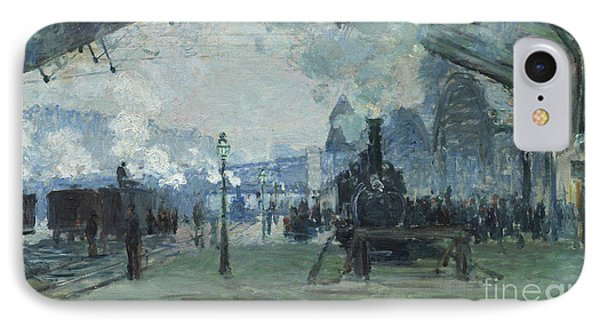 Arrival Of The Normandy Train Gare Saint-lazare IPhone Case by Claude Monet