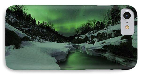 Aurora Borealis Over Tennevik River IPhone Case
