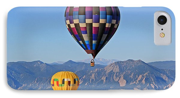2 Balloons Flying Over The Flatirons Phone Case by Scott Mahon