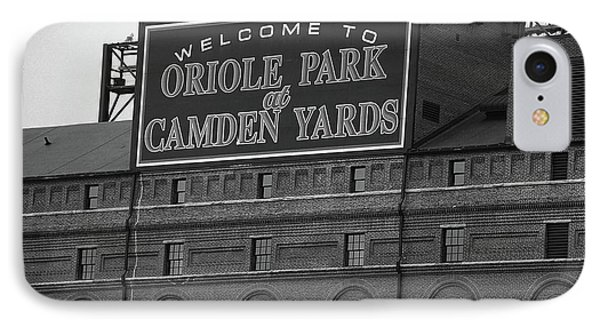 Oriole iPhone 7 Case - Baltimore Orioles Park At Camden Yards Bw by Frank Romeo