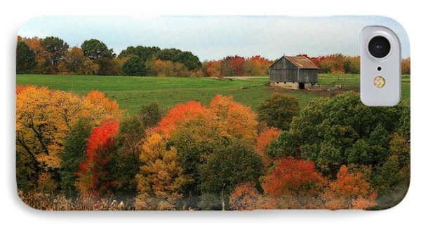 IPhone Case featuring the photograph Barn On Autumn Hillside by Angela Rath