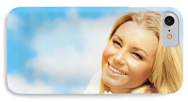 Beautiful Woman Enjoying Daisy Field And Blue Sky IPhone Case