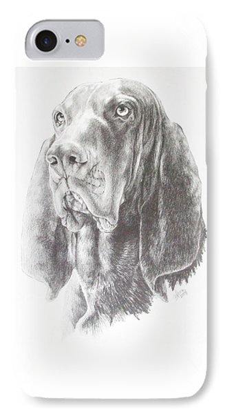 IPhone Case featuring the drawing Black And Tan Coonhound by Barbara Keith