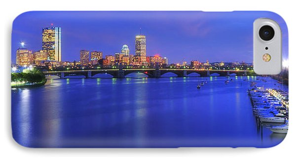 Boston Skyline Panoramic At Night IPhone Case by Joann Vitali