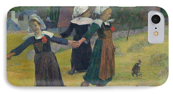 Breton Girls Dancing IPhone Case by Paul Gauguin