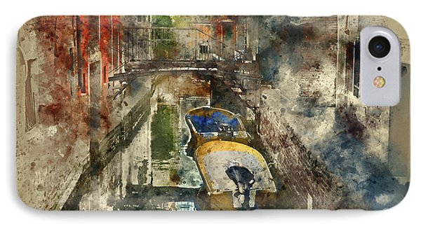 Canals Of Venice Digital Watercolor On Photograph IPhone Case