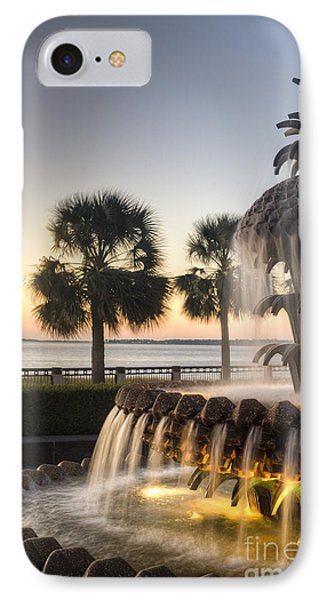 Charleston Pineapple Fountain Sunrise IPhone Case by Dustin K Ryan