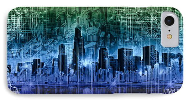 Chicago Skyline Abstract IPhone Case by Bekim Art