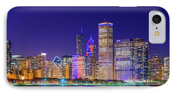 Chicago Skyline With Cubs World Series Lights Night, Lake Michigan, Chicago, Cook County, Illinois IPhone Case by Panoramic Images
